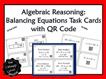 Algebraic Reasoning Task Cards with QR Code