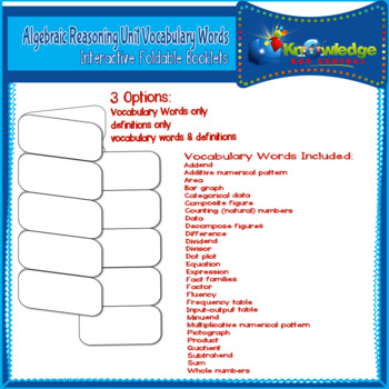 Algebraic Reasoning Unit Vocabulary Words Interactive Foldables for 3rd Grade