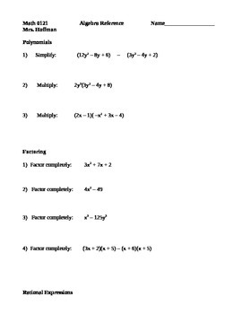 Algebraic Reference Packet with quizzing pages
