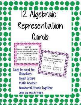 Algebraic Representation Math Cards - Set of 12