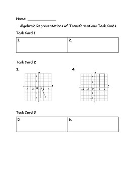 Algebraic Representations of Transformations Task Cards