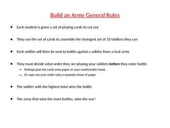 Algebraic Substitution Activity: Build an Army