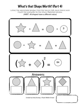 Algebraic Systems of Equations:  What's That Shape Worth? (Parts 1-5)