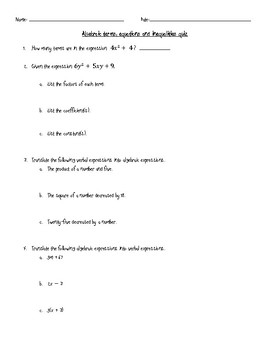 Algebraic Terms, Equations and Inequalities Assessment