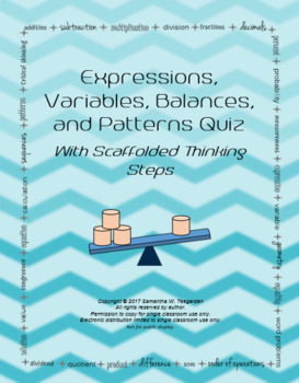Algebraic Thinking: Patterns, Expressions, and Variables Quiz