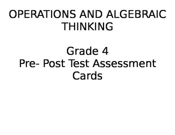 Algebraic Thinking Pre & Post Assessment Cards