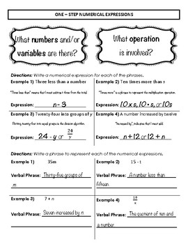 Algebraic Thinking Student Notes / Study Guide