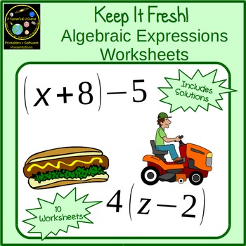 Basic Algebra Worksheets: Variables, Properties, and Expressions