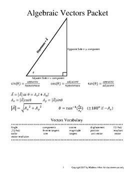 Algebraic Vectors: a Complete Unit