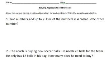 Algebraic Word Problems 6-7th