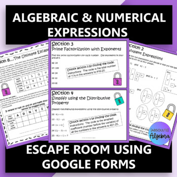 Algebraic and Numerical Expressions Escape Room using Google Forms