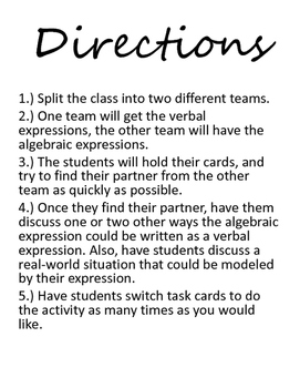 Algebraic and Verbal Expressions Cooperative Activity