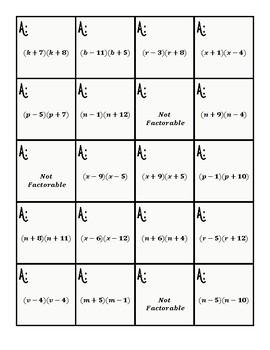 Algebrat - FACTORING - Quiz Quiz Trade! Student Engagement Activity