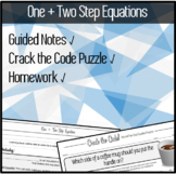 ONE + TWO Step Equations - GUIDED Notes, CRACK THE CODE Puzzle, HOMEWORK