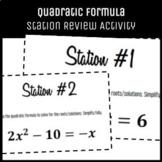 Algebrat - QUADRATIC FORMULA STATION REVIEW - Student Enga