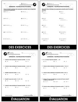 Algèbre: Expressions - Multiplications et Divisions An. 3-5
