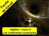 Algèbre leçon 4 - Feuille de travail - Les coefficients nu