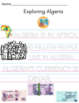 Algeria Coloring Sheet + Informational Tracing Page Set
