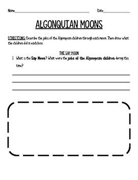 Algonquian Moons - Lesson for Native American Unit