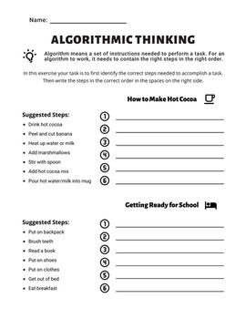 Algorithmic Thinking Worksheet