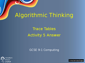 Algorithms and Algorithmic Thinking Unit of Work
