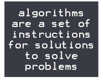 Algorithms are a set of instructions for solutions to solve problems 8x10 poster