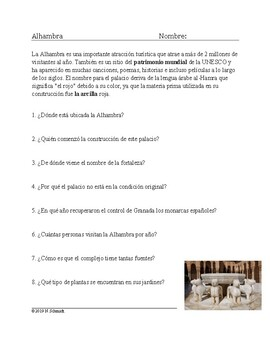 Alhambra Lectura y Cultura: Spanish Reading on Famous Spanish Fortress