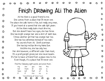 Ali the Alien in Space Literacy, Math, Science and Craft