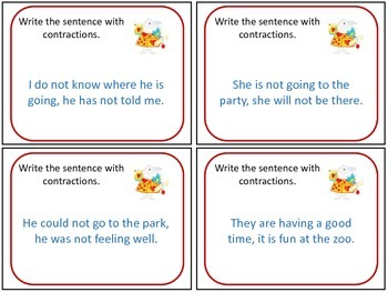Alice Contraction Task Cards