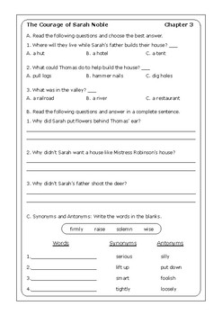 "Alice Dalgliesh ""The Courage of Sarah Noble"" worksheets"