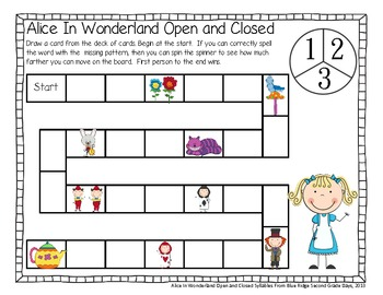 Alice In Wonderland: A, I, and U Closed and Open Syllable Word Work Activities