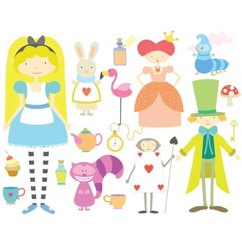 Alice In Wonderland Digital Clipart & Vector Set - Instant Download