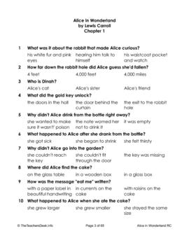 Alice In Wonderland Reading Comprehension & L/A Worksheets
