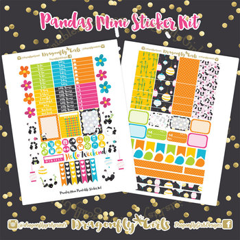Pandas Printable Planner Stickers Mini Kit