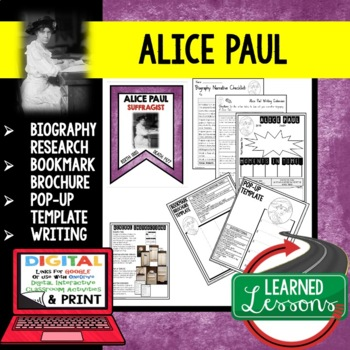 Alice Paul Biography Research, Bookmark Brochure, Pop-Up, Writing