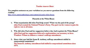 Alice Paul and the 19th Amendment Worksheet: Great Reading