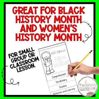 Alice Walker Black History Month Biography Flipbook Research Craftivity Activity