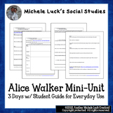 Alice Walker Mini-Unit 3 Days w/Student Guide for Everyday Use