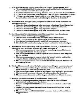 """Alice Walker's """"Everyday Use"""" 15-Question Multiple Choice Quiz"""