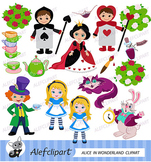 Alice Wonderland Digital Clipart, Alice in Wonderland Clipart