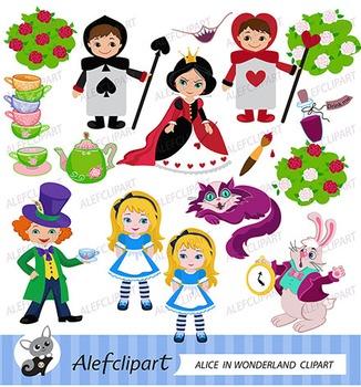 Alice Wonderland Digital Clipart, Alice in Wonderland Clipart
