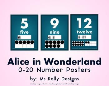 Alice in Wonderland 0-20 Number Posters