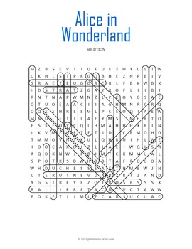 Alice in Wonderland Word Search