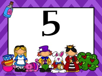 Alice in Wonderland 2 Theme Table Labels Numbers and Colors