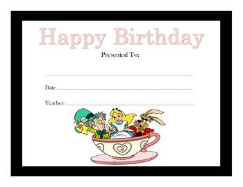 Alice in Wonderland Birthday Certificates (Includes 13 Certificates)