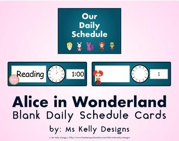 Alice in Wonderland Blank Daily Schedule Cards