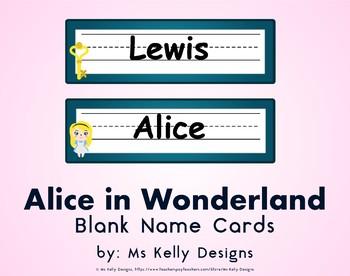 Alice in Wonderland Blank Name Cards