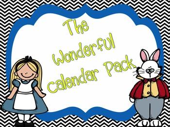Alice in Wonderland Chevron Calendar Set