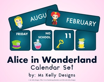 Alice in Wonderland Classroom Calendar Set