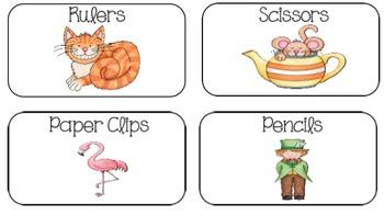Alice in Wonderland Classroom Supply Labels